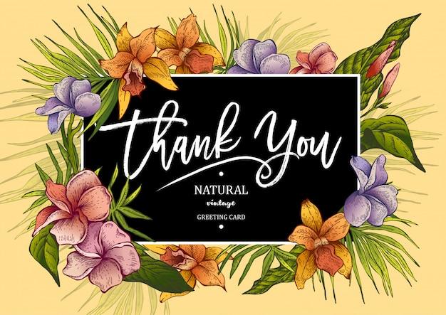 La tarjeta de felicitación tropical vintage con plantas