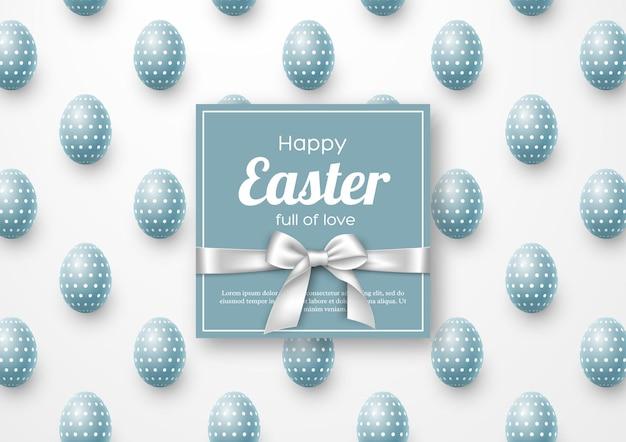 Tarjeta de felicitación de vacaciones de pascua con huevos realistas.