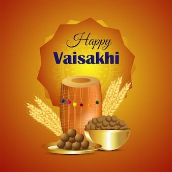 Tarjeta de felicitación de vaisakhi con ilustración creativa