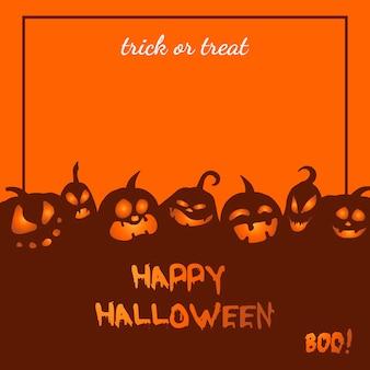 Tarjeta de felicitación de vector con calabazas enojadas para halloween
