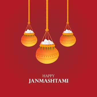 Tarjeta de felicitación de vector de dahi handi janmashtami