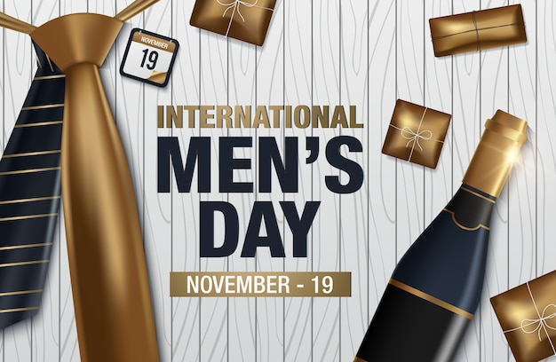 Tarjeta de felicitación del vector del día internacional de los hombres