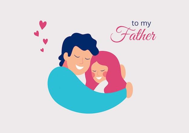 Tarjeta de felicitación del vector feliz día del padre. sonriente joven padre abrazando a su hija con amor
