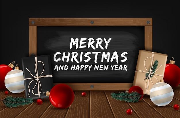 Tarjeta de felicitación de vector feliz navidad y feliz año nuevo