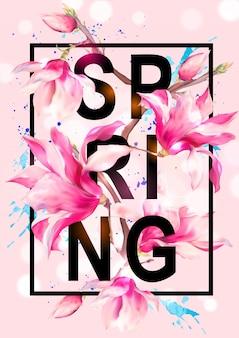 Tarjeta de felicitación de vector floral magnolia primavera