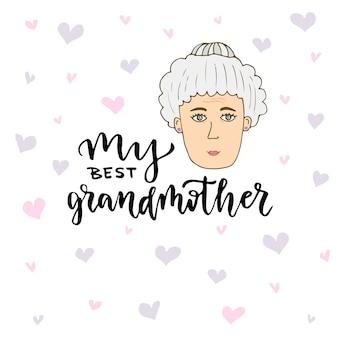 Tarjeta de felicitación de vector mano amanecer doodle cara de mujer con letras mi mejor abuela