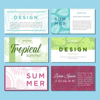 Tarjeta de felicitación de vector con plantas tropicales para unas vacaciones o una fiesta. un conjunto de tarjetas de presentación temáticas.