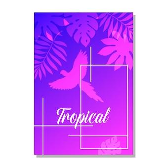 Tarjeta de felicitación de vector con plantas tropicales para unas vacaciones o una fiesta. una invitación a una boda. el contorno de un loro.