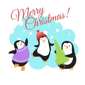 Tarjeta de felicitación de vector de vacaciones de invierno de navidad con pingüinos de dibujos animados lindo