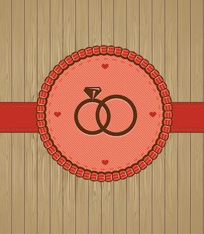 Tarjeta de felicitación de la vendimia con los anillos de boda