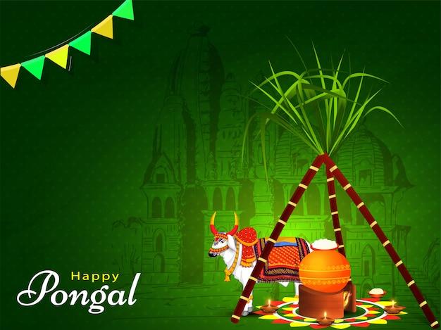Tarjeta de felicitación verde con caña de azúcar, olla de barro en la hoguera y personaje de ox frente al templo para la celebración de happy pongal.