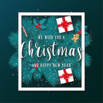 Tarjeta de felicitación verde feliz navidad con marco