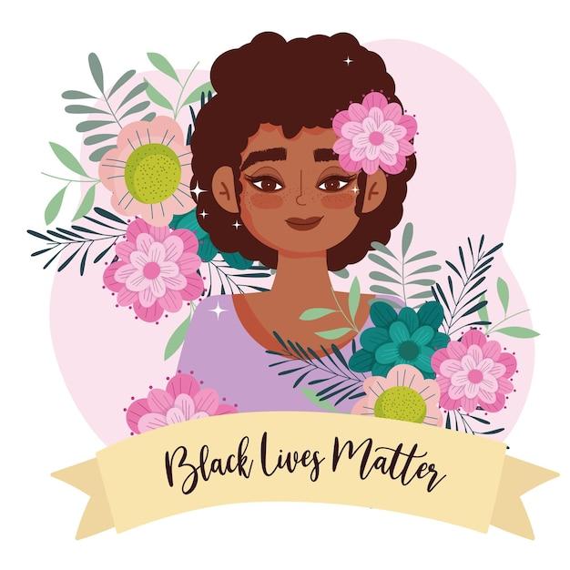 Tarjeta de felicitación de las vidas negras con chica de belleza, flores y cinta