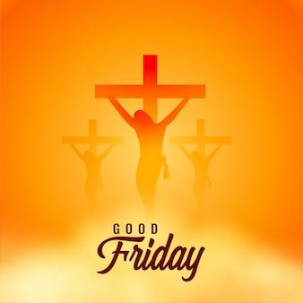 Tarjeta de felicitación de viernes santo con cruces y nubes.