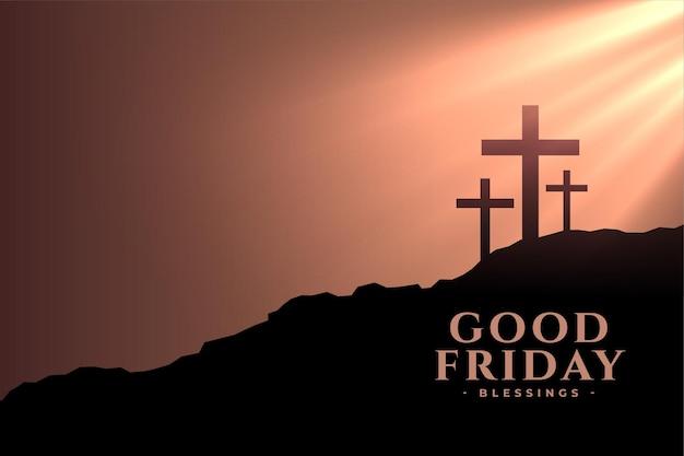 Tarjeta de felicitación de viernes santo con cruces y rayos del sol