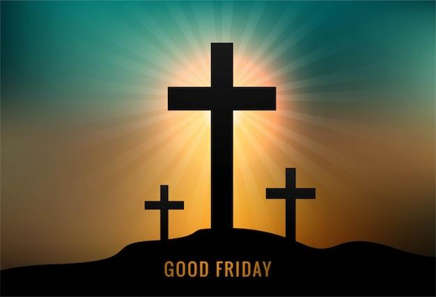 Tarjeta de felicitación para el viernes santo con fondo de puesta de sol de tres cruces