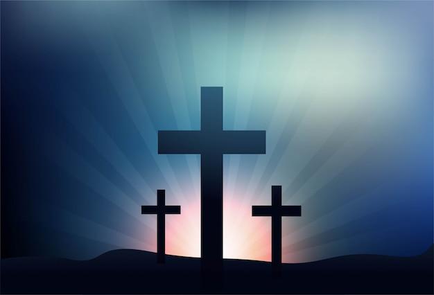 Tarjeta de felicitación para el viernes santo con fondo de tres cruces