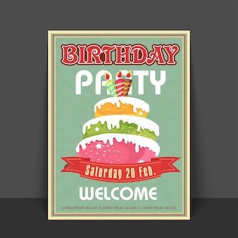 Tarjeta de felicitación del vintage o diseño de tarjeta agradable con la torta dulce colorida para la celebración de la fiesta de cumpleaños.