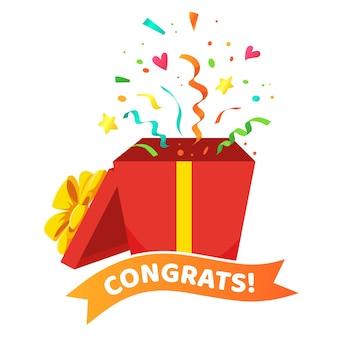 Tarjeta de felicitaciones con caja de regalo abierta, cintas y confeti.