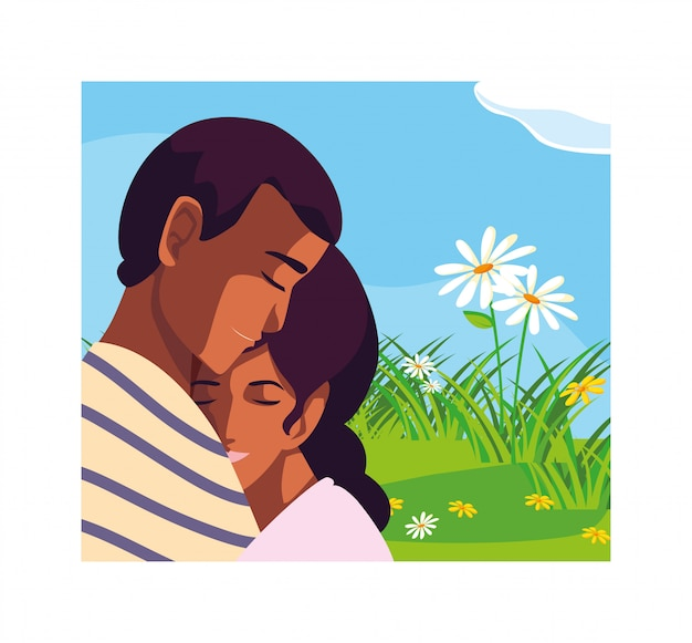 Tarjeta de felicitaciones para el día de san valentín, pareja de enamorados