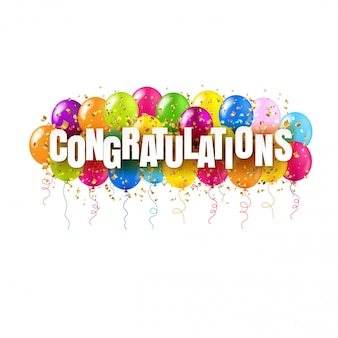 Tarjeta de felicitaciones y globos de colores en blanco