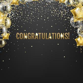 Tarjeta de felicitaciones con globos dorados