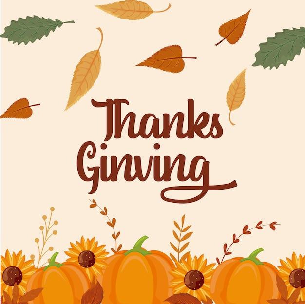 Tarjeta de feliz acción de gracias y calabazas