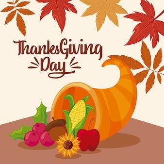Tarjeta de feliz acción de gracias y comida