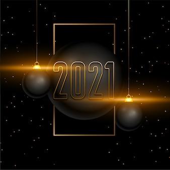 Tarjeta de feliz año nuevo 2021 con bolas de navidad