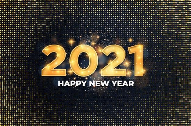 Tarjeta de feliz año nuevo 2021 con efecto de texto dorado de lujo