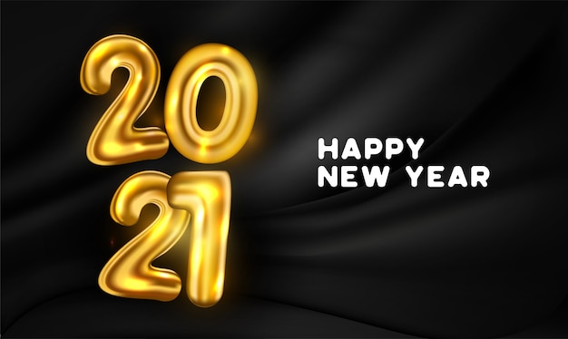 Tarjeta de feliz año nuevo 2021 con efecto de texto de globos dorados realistas