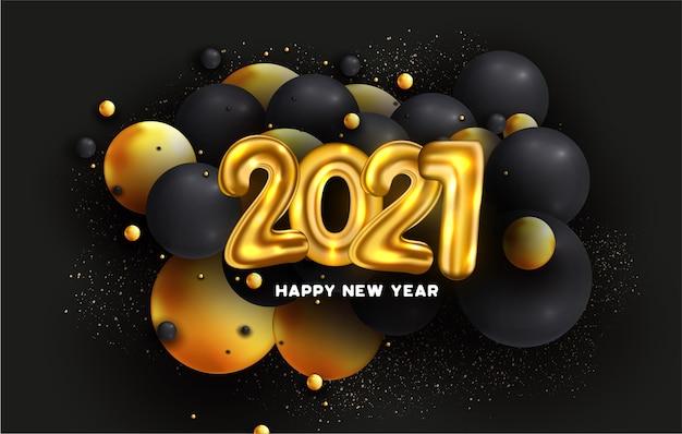 Tarjeta de feliz año nuevo 2021 con número de globos y esferas abstractas 3d