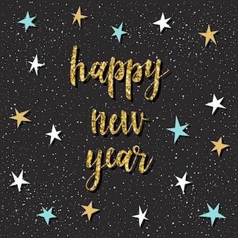 Tarjeta de feliz año nuevo. cita manuscrita y estrella para diseño de tarjeta de año nuevo, invitación, camiseta, volante de fiesta, calendario, etc.