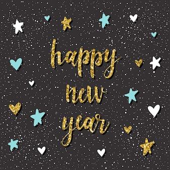 Tarjeta de feliz año nuevo. cita manuscrita y patrón hecho a mano para el diseño de tarjeta de año nuevo, invitación, camiseta, volante de fiesta, calendario del nuevo año 2018, etc. textura de oro.