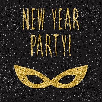 Tarjeta de feliz año nuevo. cita manuscrita y patrón de máscara de oro hecho a mano para el diseño de tarjeta de año nuevo, invitación, camiseta, volante de fiesta, calendario del nuevo año 2018, etc. textura de oro.