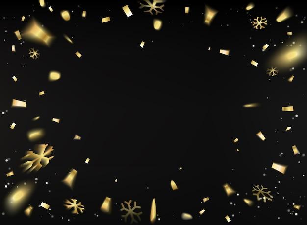 Tarjeta de feliz año nuevo con confeti dorado sobre fondo negro.