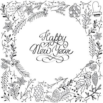 Tarjeta de feliz año nuevo con decoraciones florales