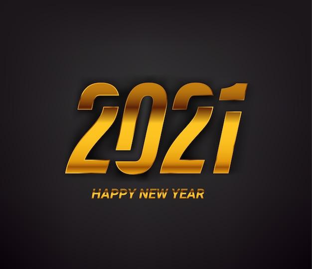 Tarjeta de feliz año nuevo de inscripción dorada