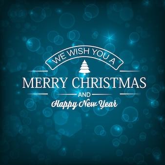 Tarjeta de feliz año nuevo con inscripción de saludo y estrellas brillantes
