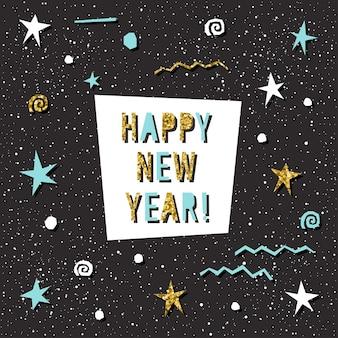 Tarjeta de feliz año nuevo. letras hechas a mano para el diseño de tarjeta de año nuevo, invitación, camiseta, volante de fiesta, calendario del nuevo año 2018, etc. textura de oro.