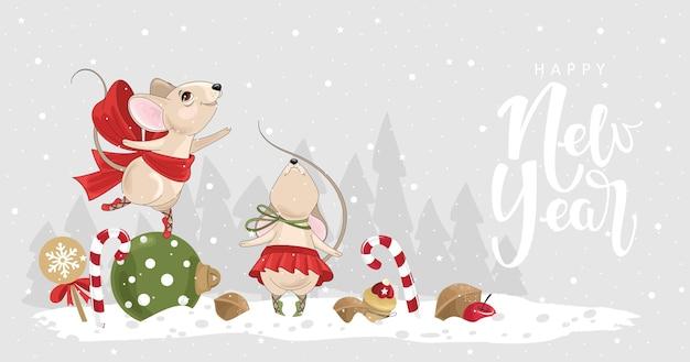 Tarjeta de feliz año nuevo con unas lindas bailarinas mouse