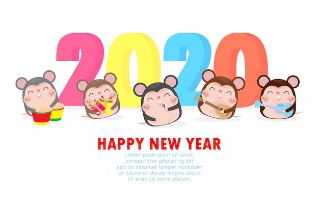 Tarjeta de feliz año nuevo con lindo ratoncito tocar musical y bailar.