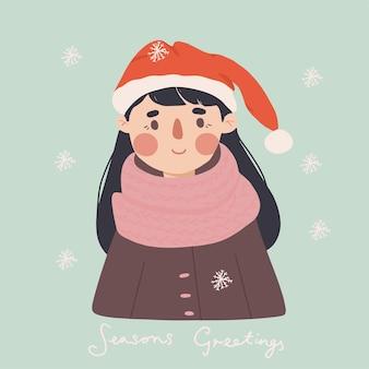 Tarjeta de feliz año nuevo de niña de invierno