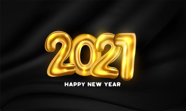 Tarjeta de feliz año nuevo con números de globo dorado