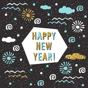Tarjeta de feliz año nuevo. patrón de texto hecho a mano para diseño de tarjeta de año nuevo, invitación, camiseta, volante de fiesta, calendario del nuevo año 2018, etc. textura de oro.