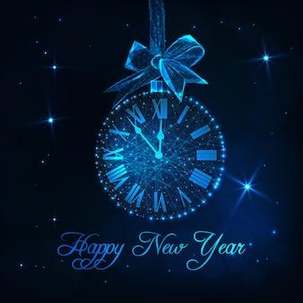 Tarjeta de feliz año nuevo con reloj como bola de navidad