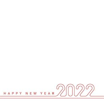 Tarjeta de feliz año nuevo con texto de línea roja 2022. vector