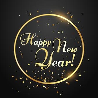 Tarjeta de feliz año nuevo. tipografía dorada en círculo con confeti cayendo. inscripción de letras para la tarjeta de felicitación de vacaciones de invierno, postal de navidad. ilustración de vector de diseño festivo
