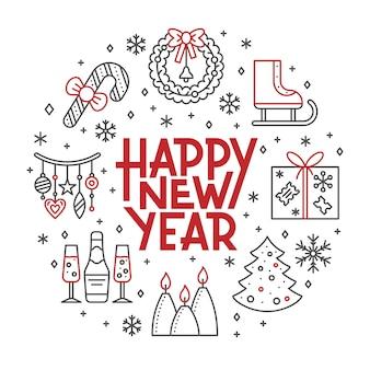 Tarjeta de feliz año nuevo, vacaciones de invierno rojo, icono de línea negra banner de letras.