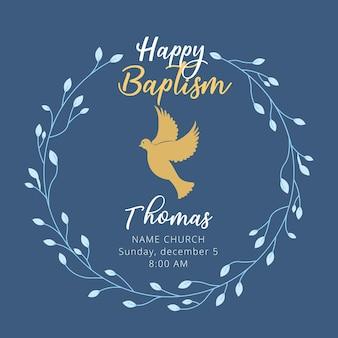 Tarjeta de feliz bautismo con icono de paloma y corona de hojas, ilustración de dibujos animados